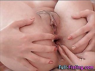 Pretty Lesbians Fisting Shaved Pussies