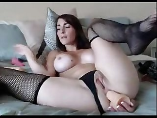 Amateur Teen in Stockings puts Dildo in All Holes on Webcam live at www.FAQcams.com